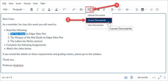 Add link to Files area document via the Document Tool.