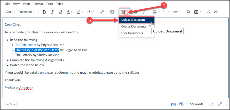 Upload and link to document in Files area via the Document Tool.