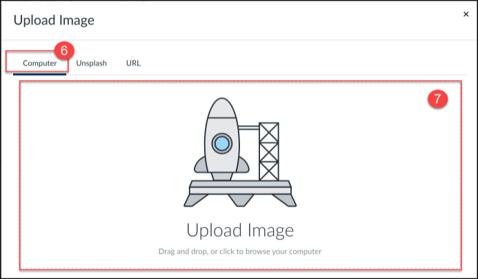 Click on or drag and drop files onto the Upload File popup