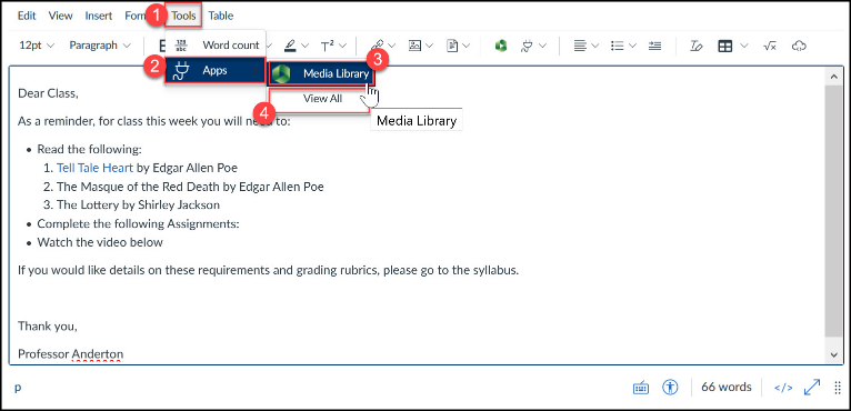 Insert Media Library file via the Tools menu.