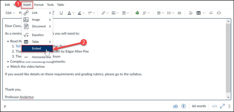 Insert embed code via Insert menu