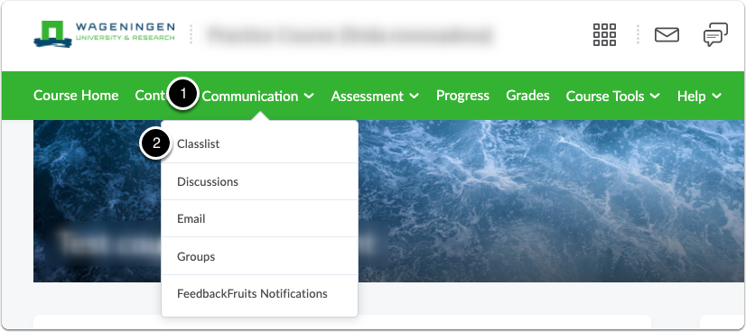 In course page go to Communication, then Classlist