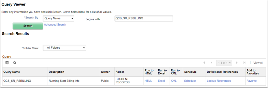 Image of query view page in ctcLink