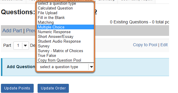 Add Question menu on the Questions editing page shown with Multiple Choice selected.