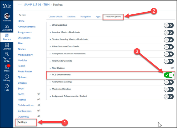 Enable the New RCE in courses before January through your course site's Settings area