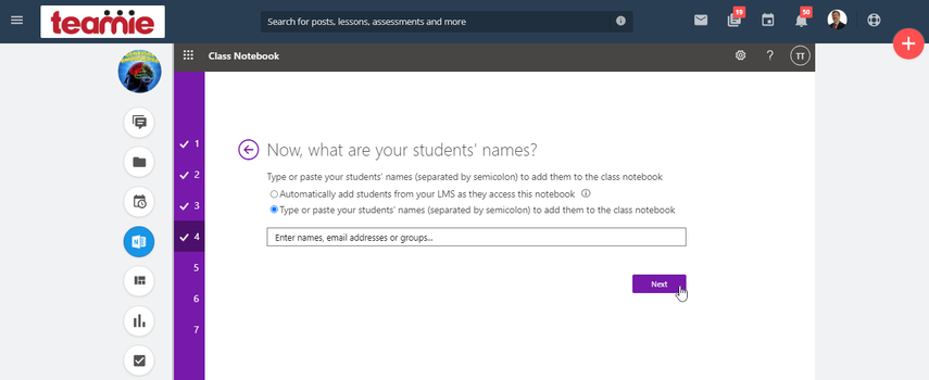 b) Manually adding learners to OneNote notebooks