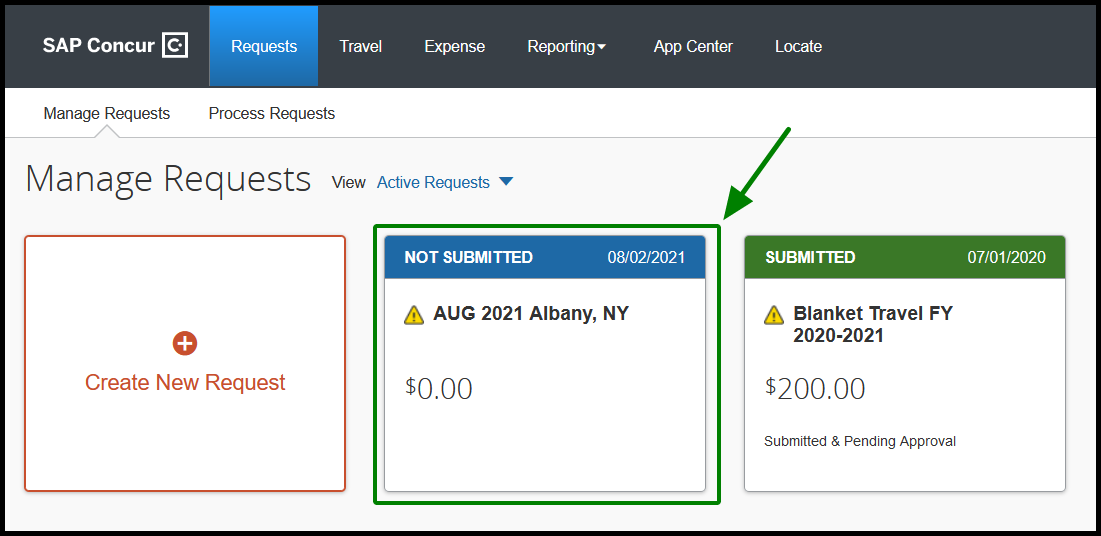 """Requests tab has been opened. There is a title labeled """"Active Requests"""" on the top left corner. Highlighted by a green square there is the following text, """"AUG 2021 Albany, NY"""" There is a green arrow pointing towards the request."""