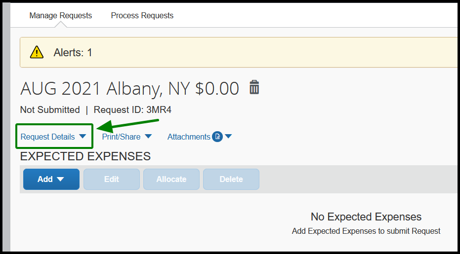 The request 3MR4 has been selected on. Within the request, there are multiple dropdowns. These dropdowns are request details, print and share, and attachments. There is a green arrow pointing towards Request Details, and it is highlighted by a green square.