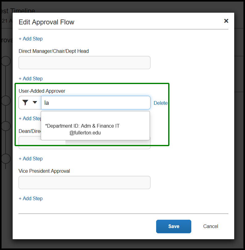 Within the approval flow tab, the appropriate add step option had been clicked on and it created a drop-down menu. This drop-down contains the list of employees who can be approvers. With this example, the individual named has been selected.