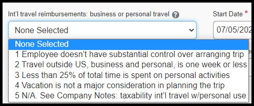 Select the appropriate option under International Travel Reimbursements.