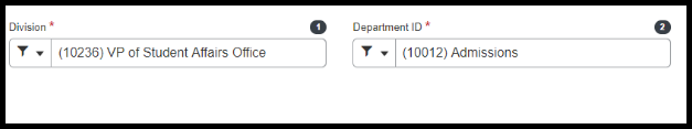 Fill in the Division and Department ID Field.