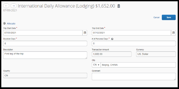 Fill out the fields in the International Daily Allowance Lodging Expense.
