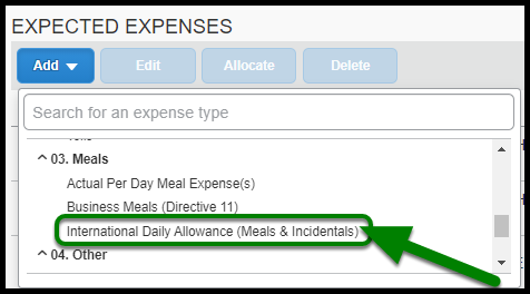 Expense Type field. Under Meals, the International Daily Allowance expense type is highlighted in green.