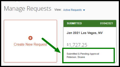 """Pending Requests tab. On the lower right-hand corner, there is a status field that is displaying the following text: Submitted & Pending Approval - Peterson, Sloane."""" This text is highlighted in green, with an arrow pointing towards it."""