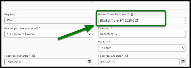 Green area pointing to naming convention of Blanket Travel request.