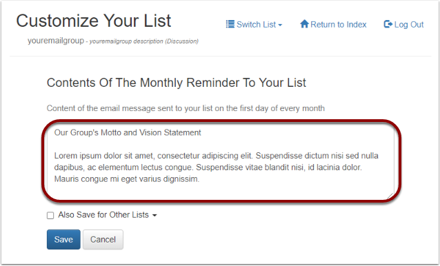 Click on the field - Monthly Reminder To Your List
