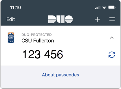 Duo account with passcode