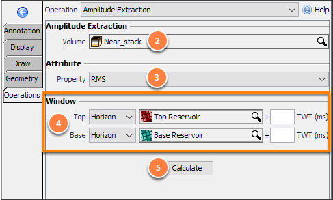 Define parameters for amplitude extraction