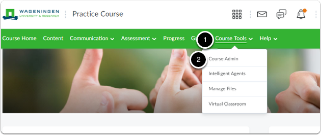 Click on Course Tools then on Course Admin