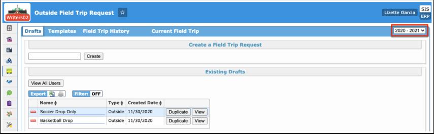 Outside Field Trip Request