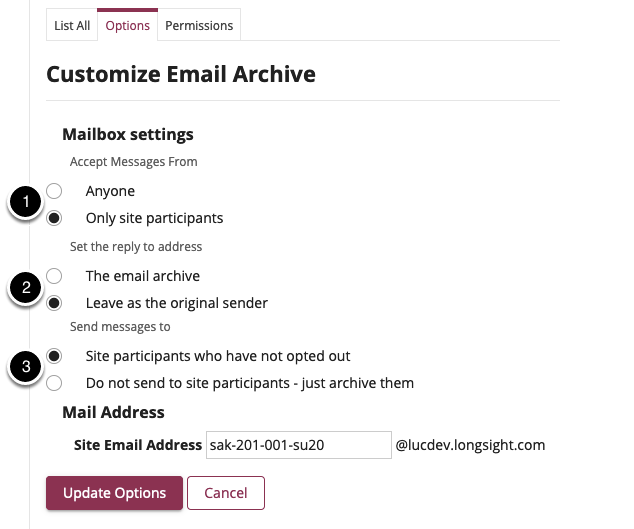 Customize Email Archive settings