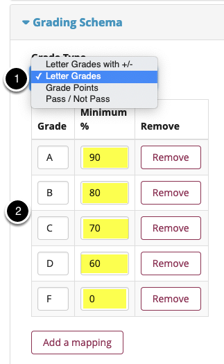 Set a grading schema and customize score thresholds