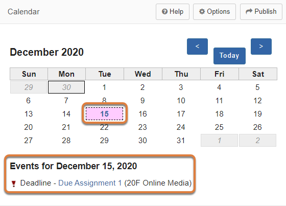Calendar displays a date in pink that has been selected to show it is an assignment due date.