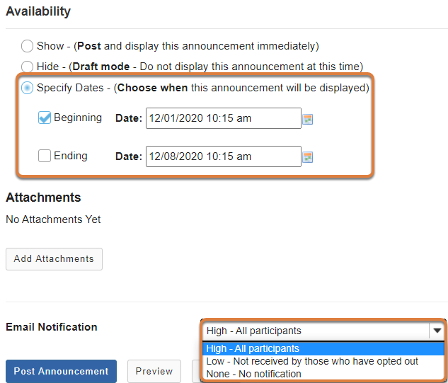 Announcements editing screen displays options to specify availability dates and email notification options.