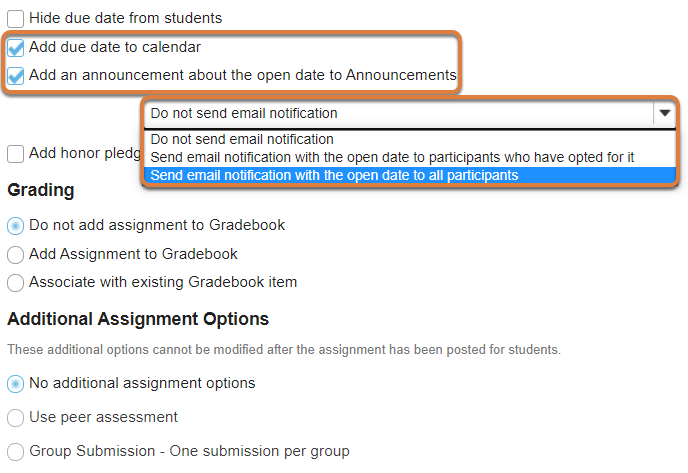 Assignment editing screen displays add due date to calendar and add announcement about open date options.