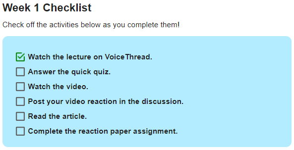Example Week 1 Checklist on a page in Lessons displays several activities, with one checked off as completed.