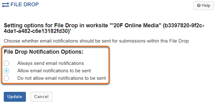 File Drop Options tab showing options to enable notifications.