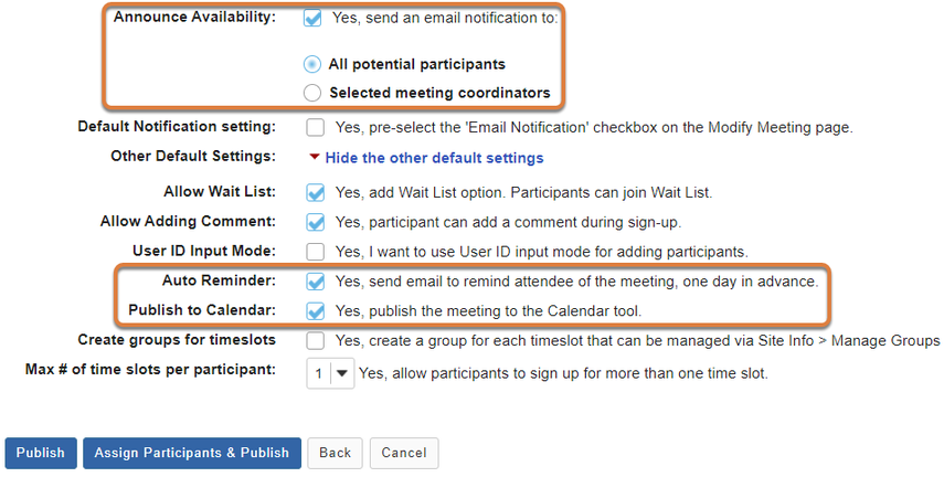 Sign Up event creation screen displays options for email notifications and adding the event to the calendar.