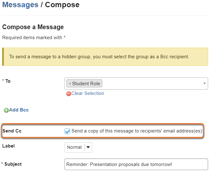 Compose a Message page displays a message being written with the Send Cc option selected.