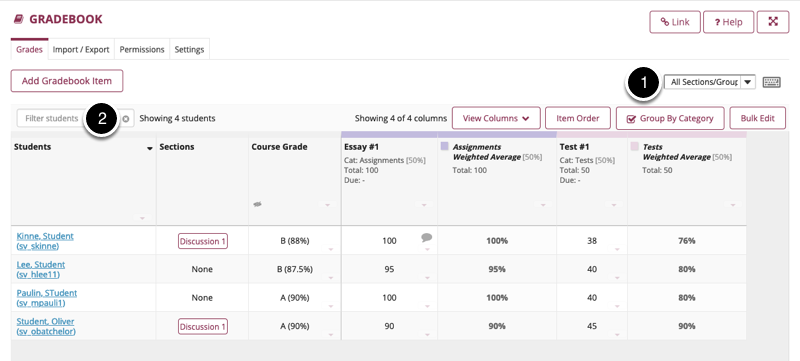 Optionally, filter your gradebook by section or search for specific students