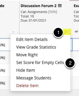 Set score for empty cells