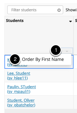 Order students by first name
