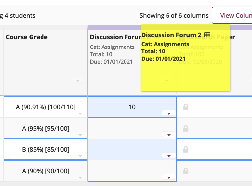 Drag and drop items to reorder columns
