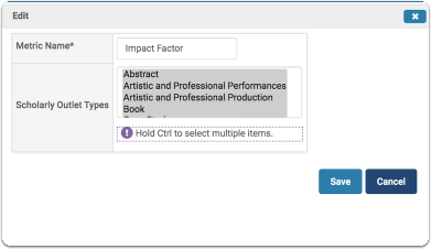 Edit box for Adding a Metric Field for an Existing Scholarly Outlet