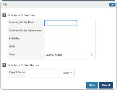 Scholarly Outlet Data and Scholarly Outlet Metrics window