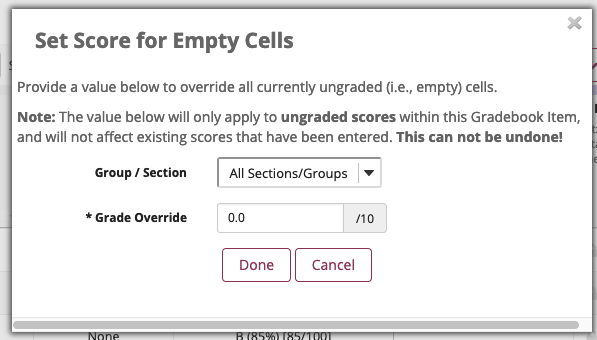 Set score for empty cells