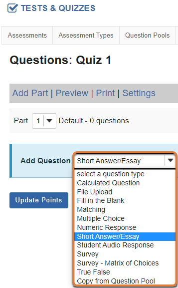 Questions screen displays the Add Question menu with Short Answer/Essay selected.