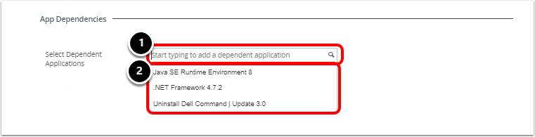 Selecting the App Dependency