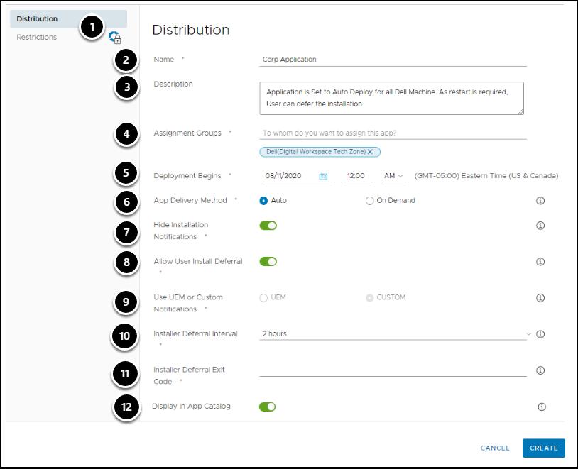 Application Distribution Settings