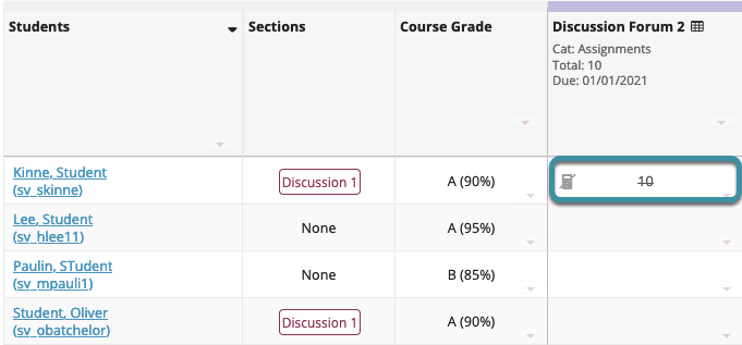 The excused grade will be in a strike-through font