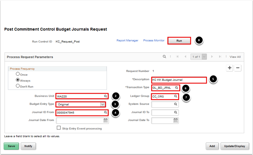 Post Commitment Control Budget Journals Request