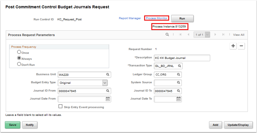 Post Copmmitment Control Budget Journals Request page