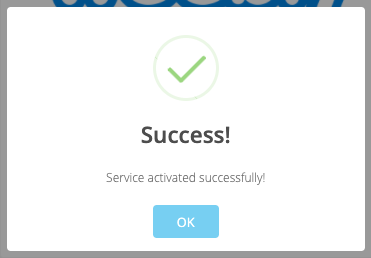 Activation Successful Confirmation