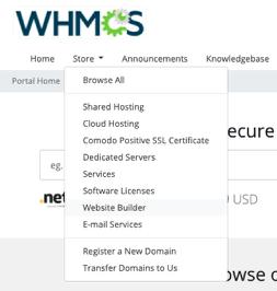 Website Builder client area link