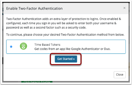 Select the Two Factor Auth Service
