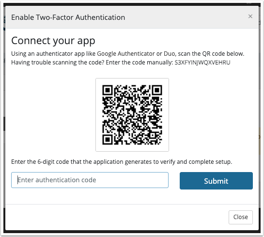 Scan the QR Code with your app and enter the authentication code